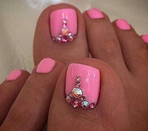 #Acripie #rosa | Uñas pies decoracion, Uñas de gel ...