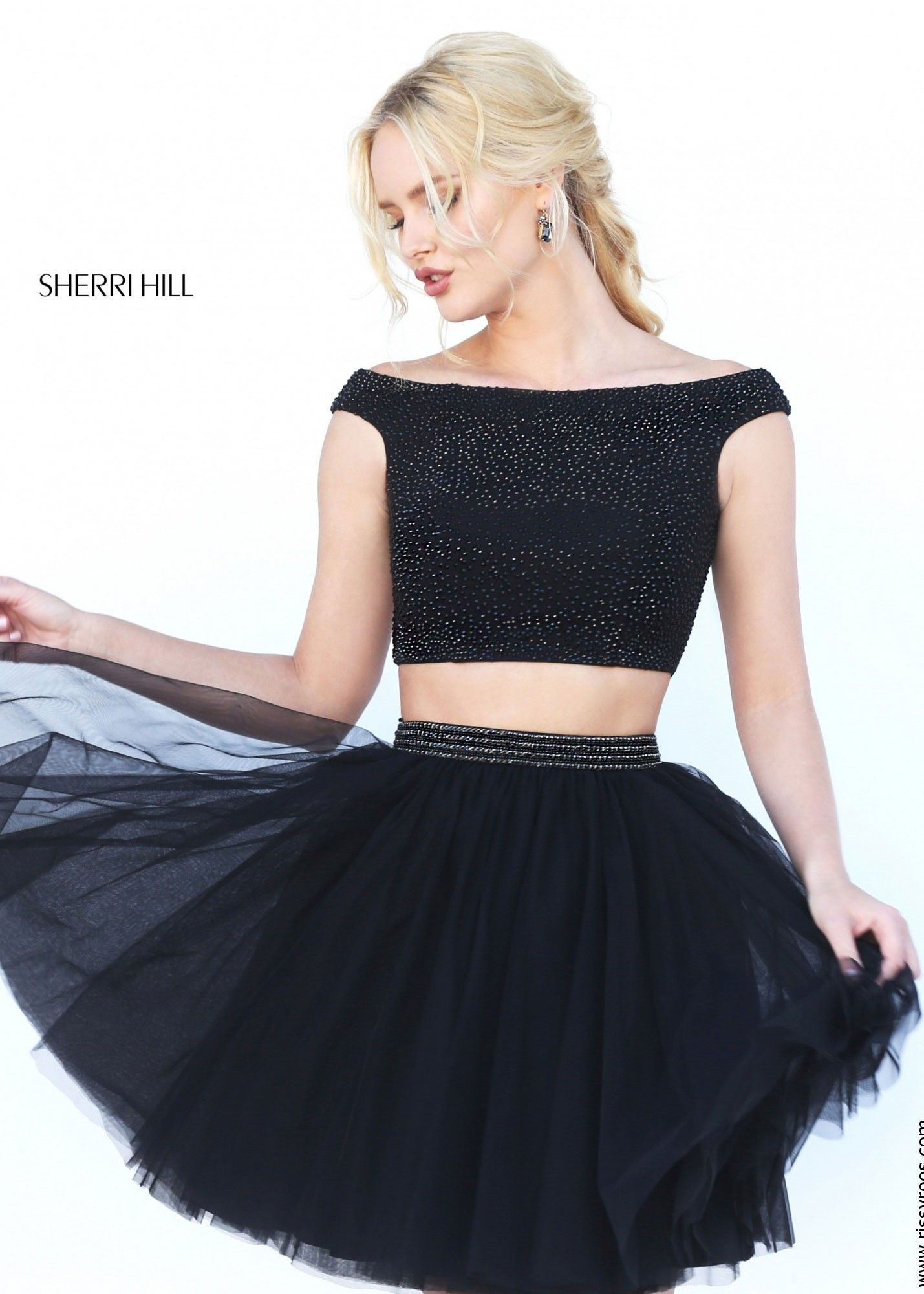 2016 Short Sherri Hill 50497 Black Tulle Beaded Two Piece Homecoming Dresses
