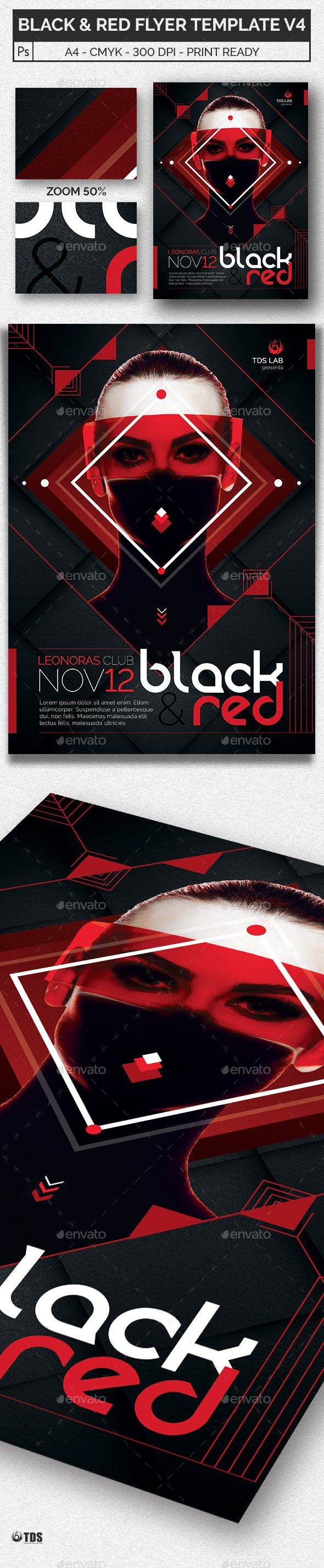 Black And Red Flyer Template V  Flyer Template Club Flyers And