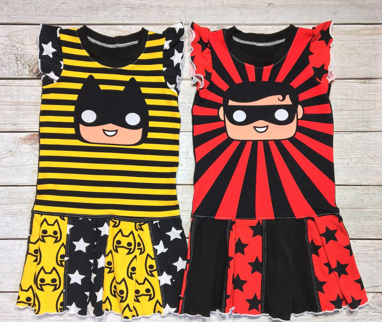 red hip dress Girls robin hipdress batgirl hip Dress yellow hip Dress Baby girl dress Colorful toddler batman dress baby shower gift