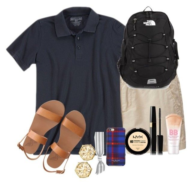 """""""OOTD-wishing I didn't have uniforms"""" by kadynpleasants ❤ liked on Polyvore featuring Uniqlo, 5.11 Tactical, Ancient Greek Sandals, Maybelline, The North Face, Isaac Mizrahi, Splendid and Swarovski"""