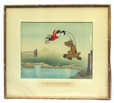 An original Disney Studio production cel of Goofy from the