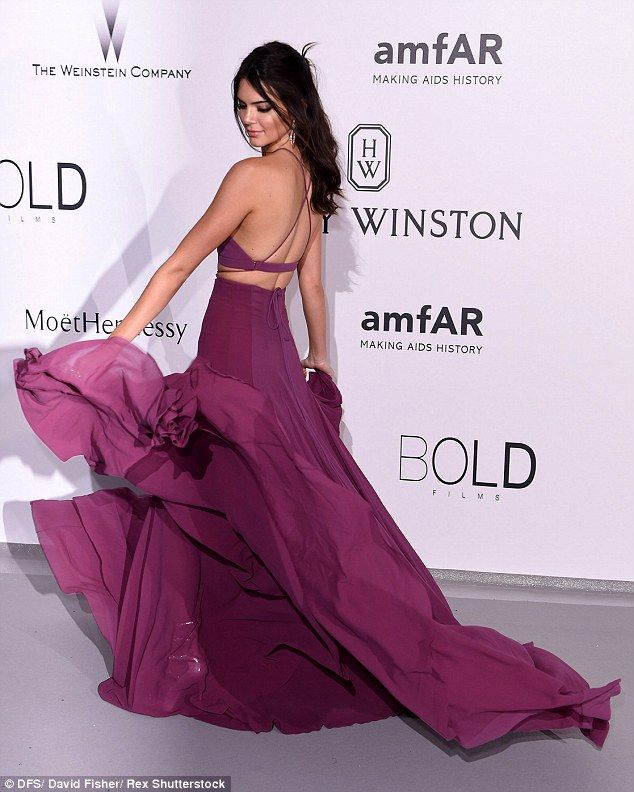 Kendall Jenner twirls on amfAR red carpet in a cropped top and skirt