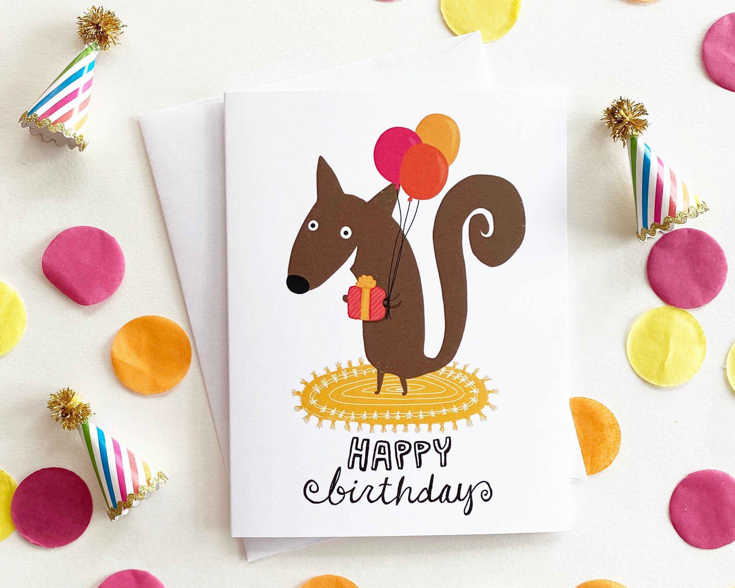 Squirrel Birthday Card Cute Birthday Card Funny Animal Etsy Cute Birthday Cards Kids Birthday Cards Birthday Cards
