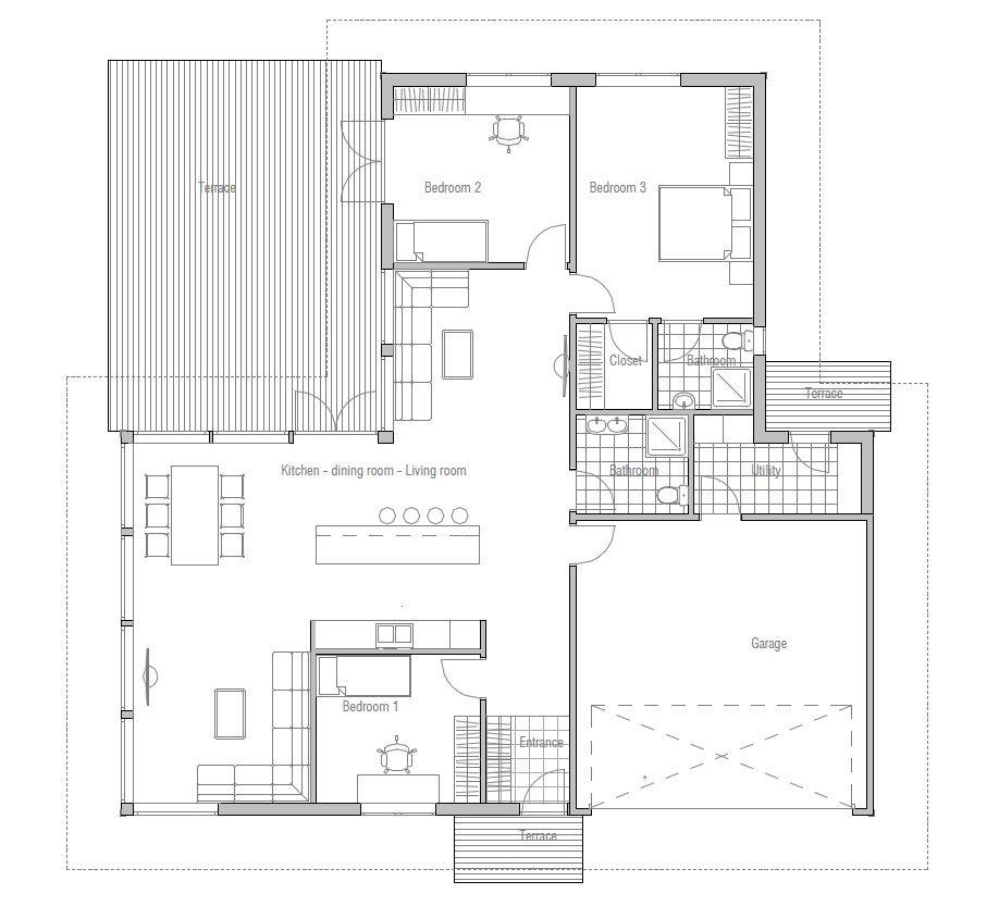 Modern Houses 20 049ch 1f 120817 House Plan Jpg House Plans Single Level Floor Plans How To Plan