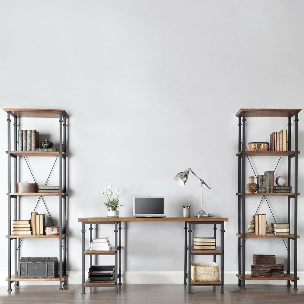 Myra Vintage Industrial Modern Rustic 3-piece Desk Bookcase Set by iNSPIRE Q  Classic by iNSPIRE Q