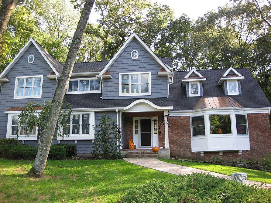 Image Result For Certainteed Cedar Impressions Flagstone Red Brick House Exterior Brick Exterior House House Exterior Blue