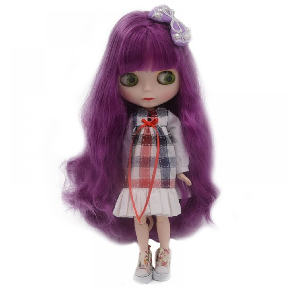 1//6 Blythe Nude ICY Doll Jointed Body Shiny Face Can Be Changed Makeup Clothes