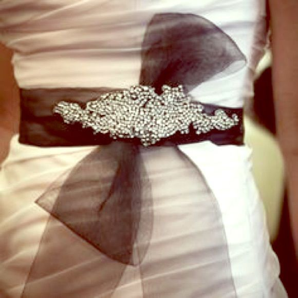 Black Beaded Vera Bridal Sash