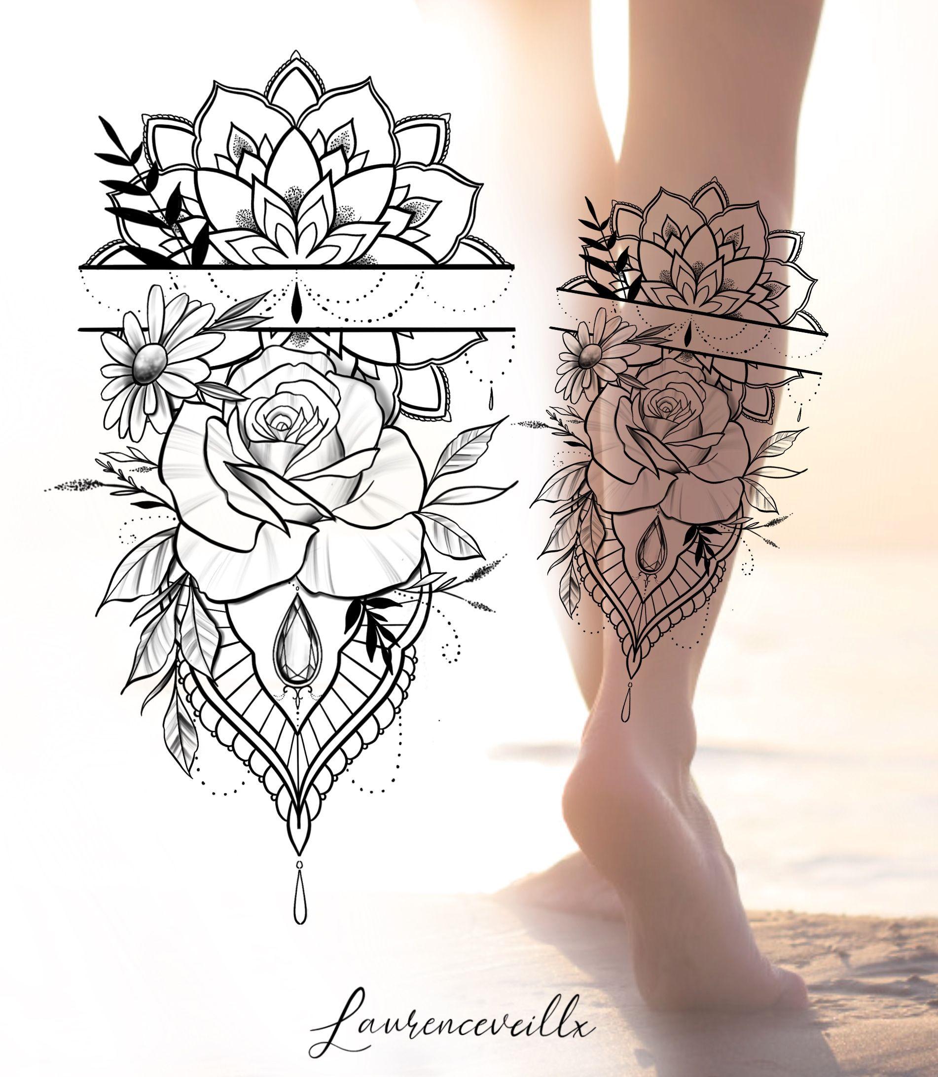 Photo of Rose Diamond and Mandala Tattoo Design @laurenceveillx