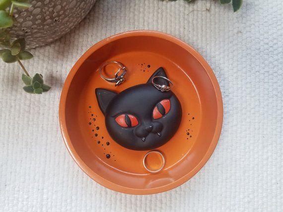 Black Cat Ring Dish, Black Cat Gifts, Black Cat Trinket Dish