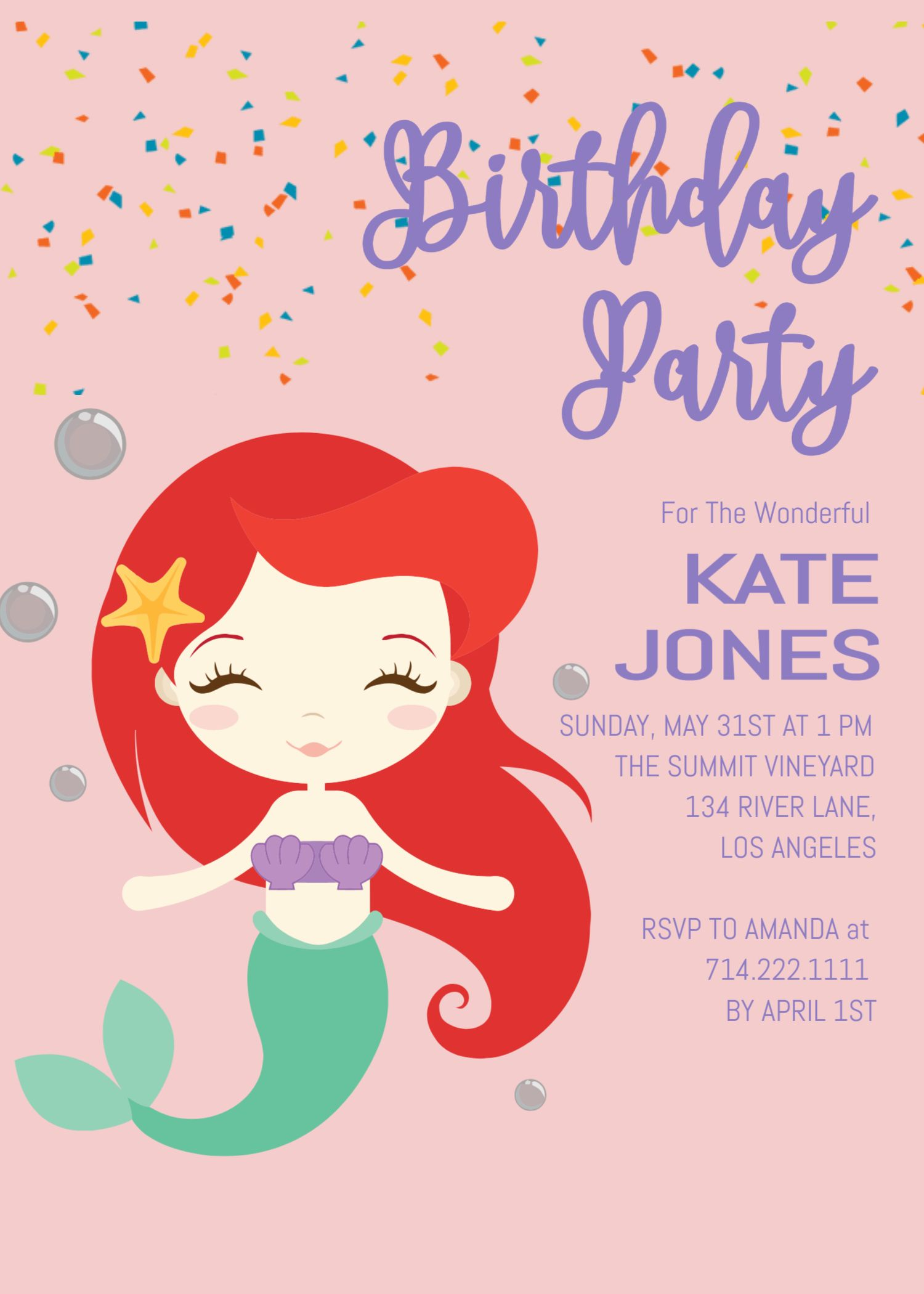 Mermaid Birthday Invitation Template Ariel Party Printable Girl