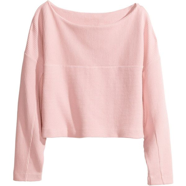 H M Cropped Top 24 Aud Liked On Polyvore Featuring Tops Sweaters Shirts Crop Top Light Pink Cotton Shirts Cotton Sweater Tops Crop Tops Fashion