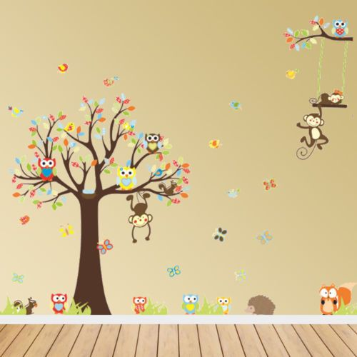 Jungle Tree Owl Animals Wall Stickers Art Decal Children Kids ...