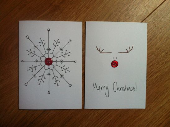 button craft christmas cards - use rhinestones instead? Cute reindeer drawing idea for a sign