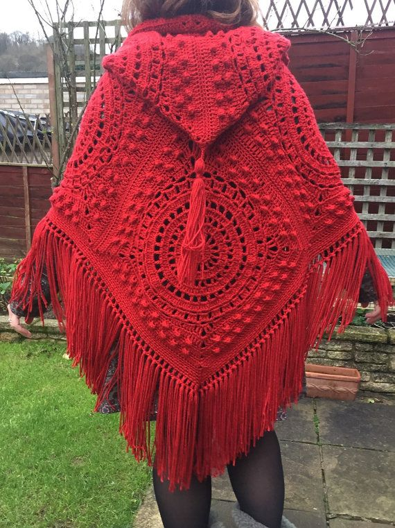 handmade crochet hooded poncho with fringe and tassel in fabulous red seventies retro vintage. Black Bedroom Furniture Sets. Home Design Ideas