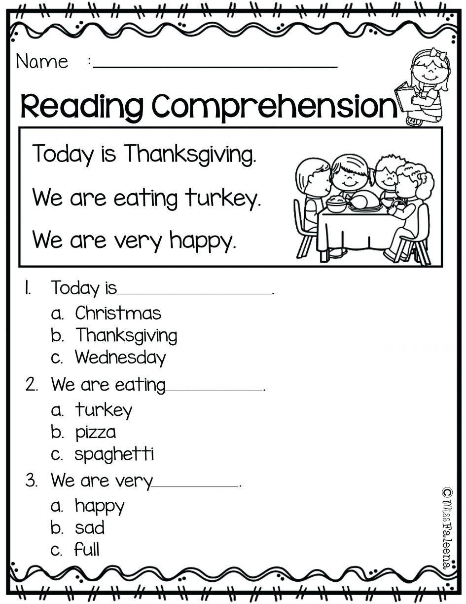 Thanksgiving Reading Comprehension Worksheets Thanksgiving Reading Comprehension Kindergarten Reading Worksheets Reading Comprehension Kindergarten