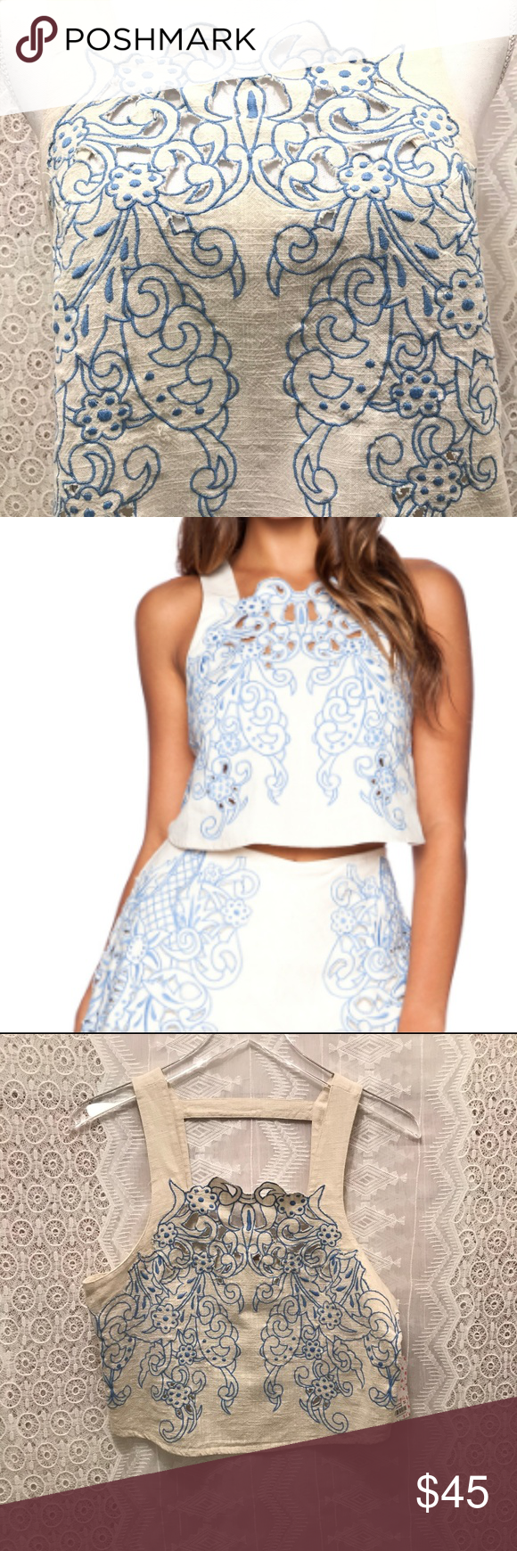 53fa006886c1e Free People Topaz Moon Lyst Embroidered Crop Top Lyst Blue. Set retails for  $228.