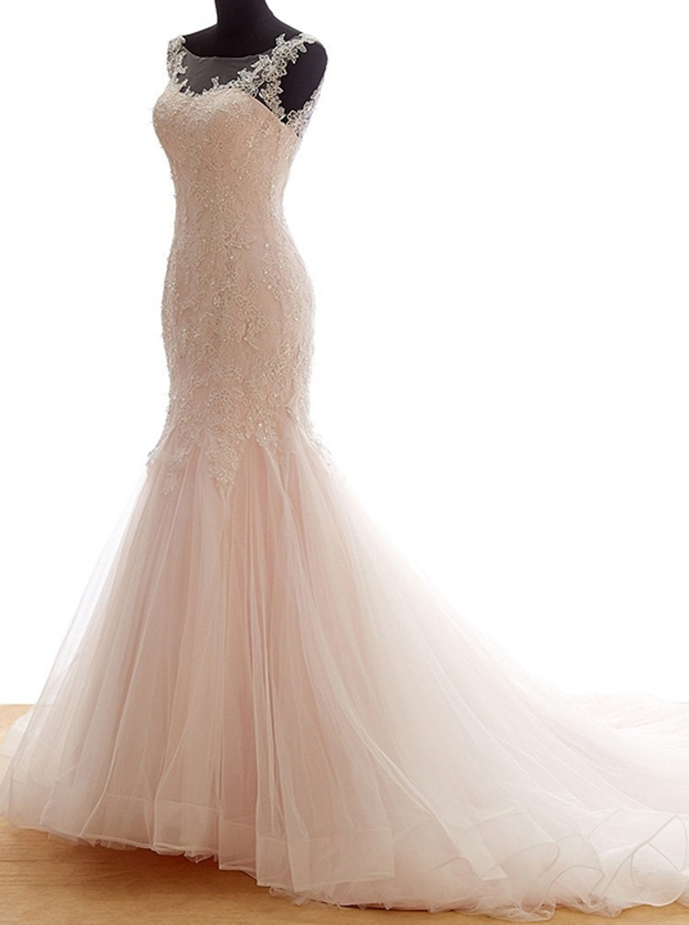 Pink lace bridal dressmermaid wedding dress with trainbeautiful