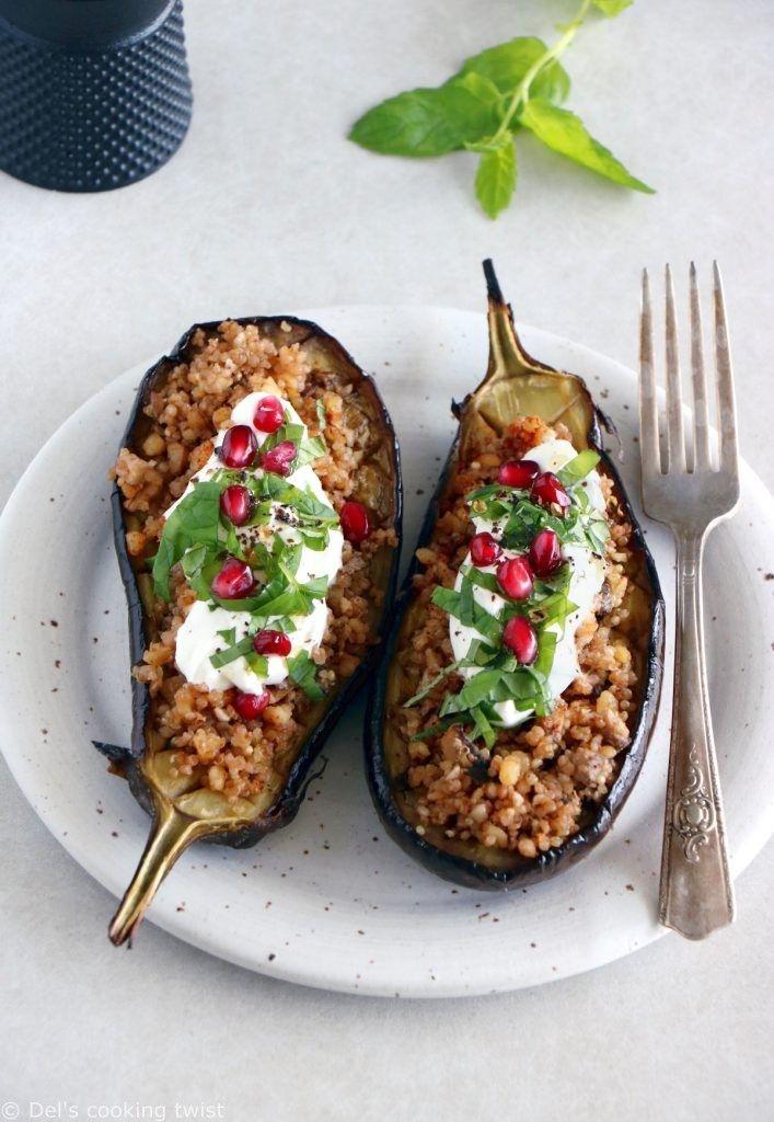 Aubergines farcies au quinoa et sauce au yaourt à la ...