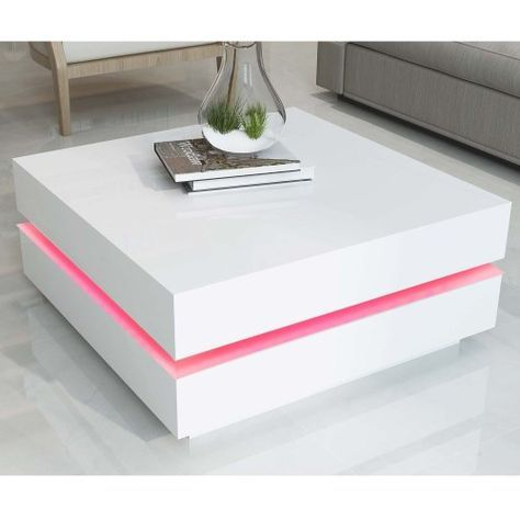 Tiffany White High Gloss Cubic Led Coffee Table Coffee Table