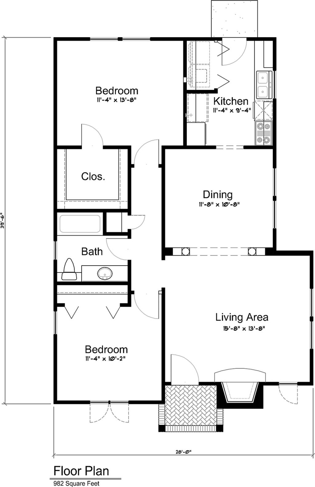 2 bed, 1 bath, 982 sq  ft  Put a long normal closet on the