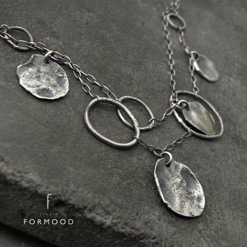 Photo of form017 collection – raw sterling silver necklace, delicate silver necklace, oxidized silver, layered necklace