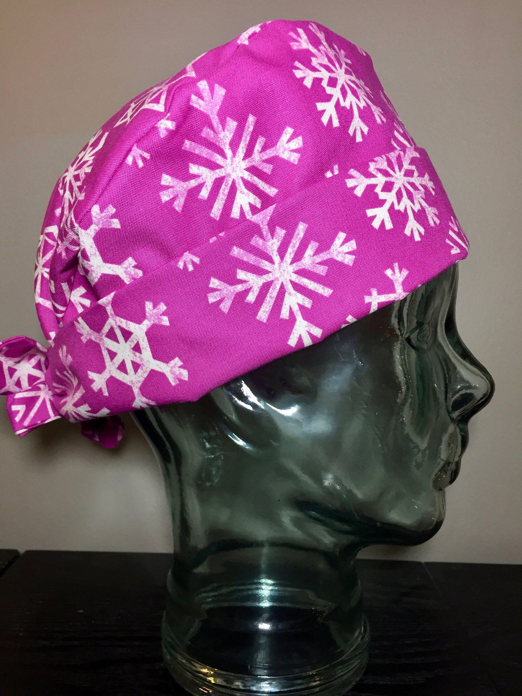 d193443b9cca1 Snowflakes on Fuchsia Surgical Scrub Hat