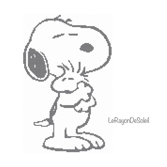 Cross stitch pattern Snoopy and Woodstock hug love friends classic ...