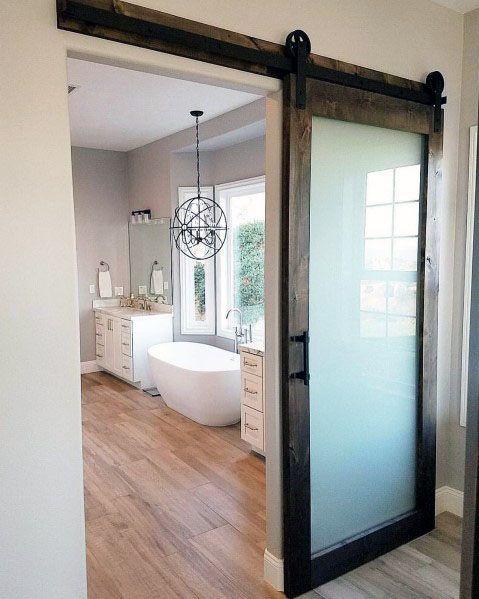 Top 60 Best Sliding Interior Barn Door Ideas Interior Designs Bathroom Barn Door Barn Doors Sliding Master Bedroom Bathroom