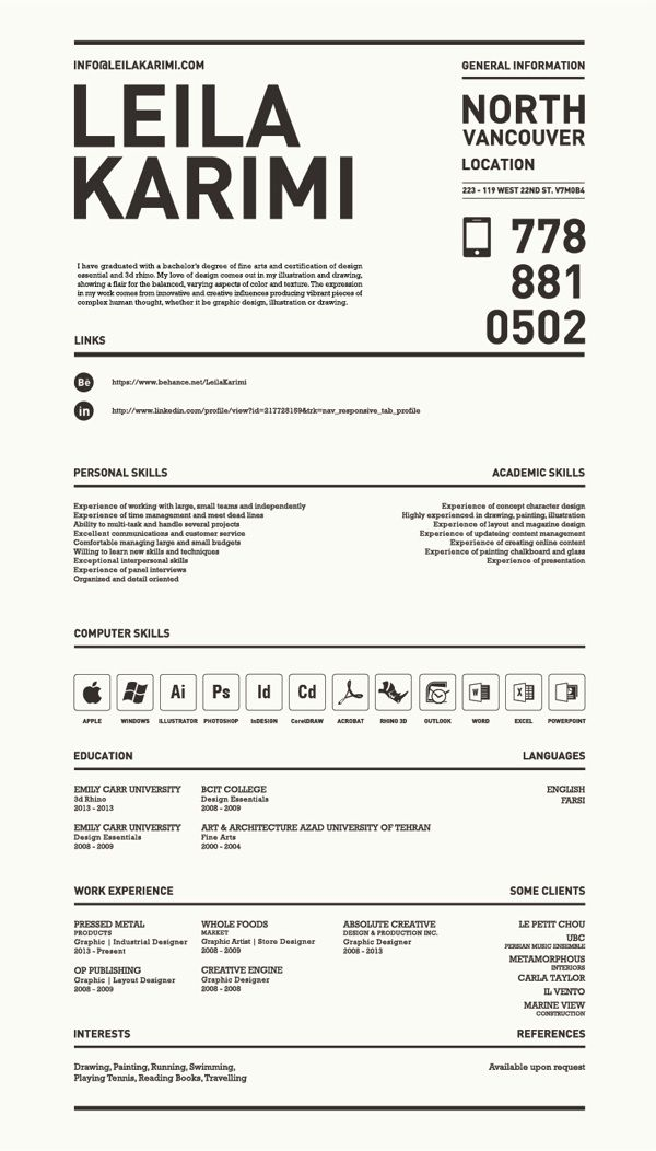 Really creative, simple resume by Leila Karimi, via Behance For - resume education section