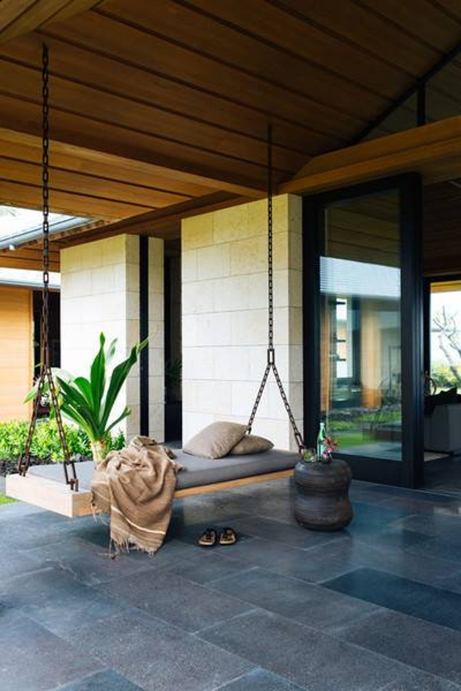 Eco Friendly Slab Porch Swing Bed Etsy Modern Outdoor Spaces