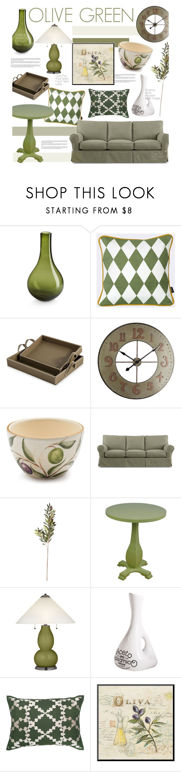 """""""Olive Green"""" by kusja ❤ liked on Polyvore featuring interior, interiors, interior design, home, home decor, interior decorating, Crate and Barrel, ferm LIVING, Interlude and Universal Lighting and Decor"""