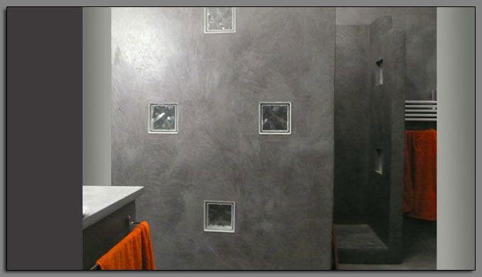 Cabine de douche tadelakt gris anthracite peintures et - Enduit douche italienne ...