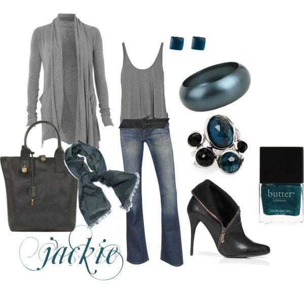 Dress up your jeans...gray and teal, created by #jackijons on #polyvore. #fashion #style All Saints T by Alexander Wang