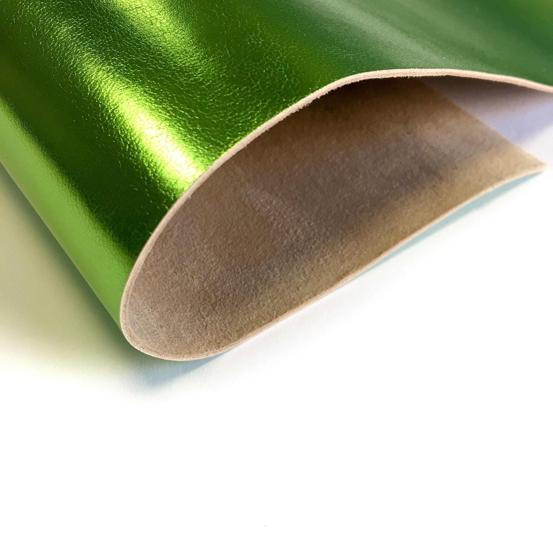 GREEN Metallic fabric Genuine Sheep Leather Hides Real Lambskin VERDE 699 2 oz