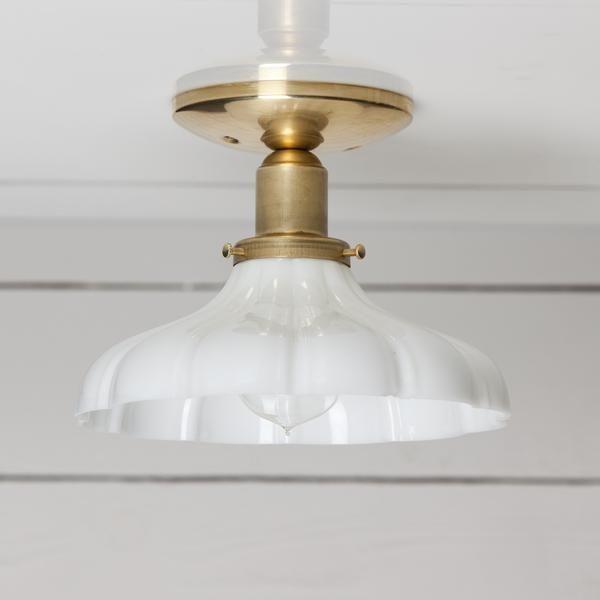 Vintage Milk Glass Ceiling Light Brass Base Ceiling Lights Glass Light Fixture Glass Pendant Light