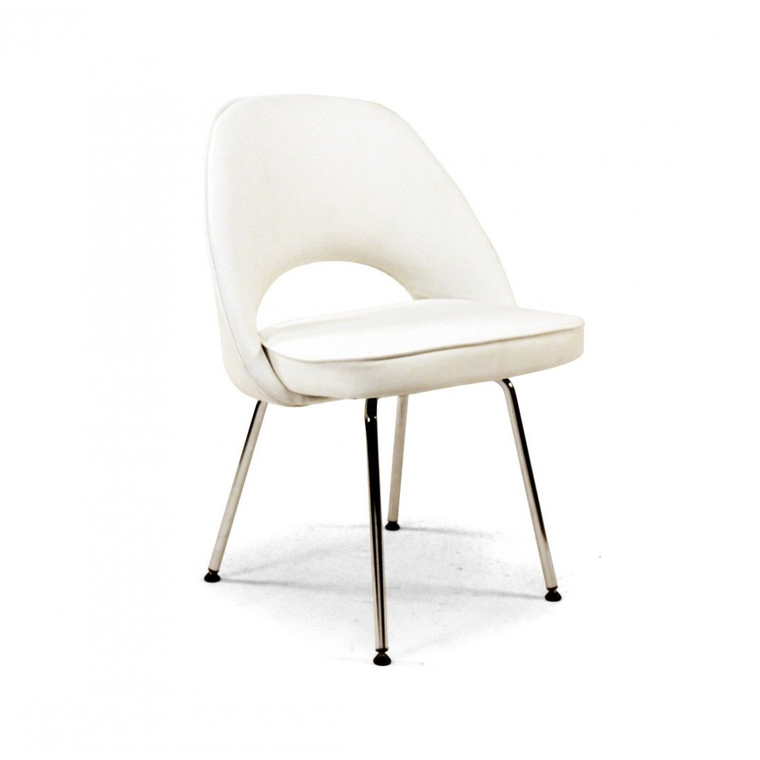 Mid Century Modern Reproduction Side Chair With Metal Legs White