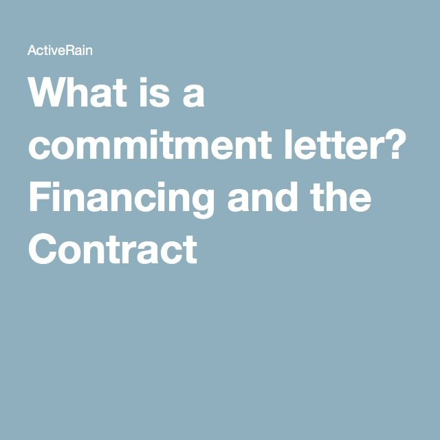 What is a commitment letter? - commitment letter