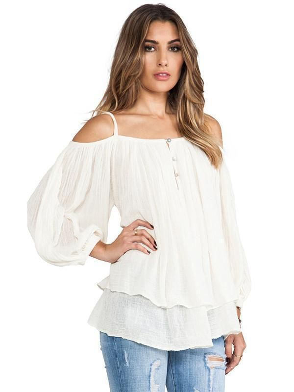 Womens Summer Cold Off Shoulder Loose T Shirts Ladies Frill Long Sleeve Pure Top