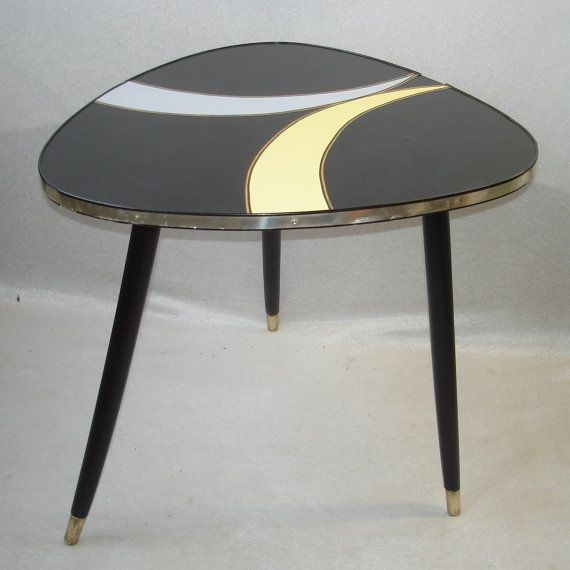 50s 60s Triangle Tripod Coffee Table End By Findingscreations
