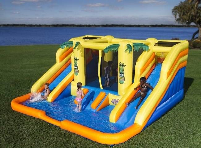 Inflatable Bouncer With Water Slides By Blast Zone 700 Im Still A Little Kid At Heart Water Slide Bounce House Inflatable Bounce House Water Slides
