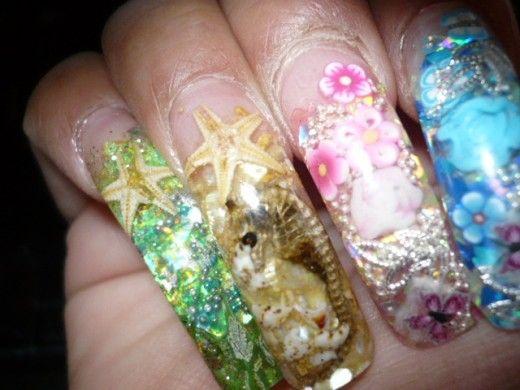 Ocean Theme Seahorse Nail Design Tropical Nails Pinterest