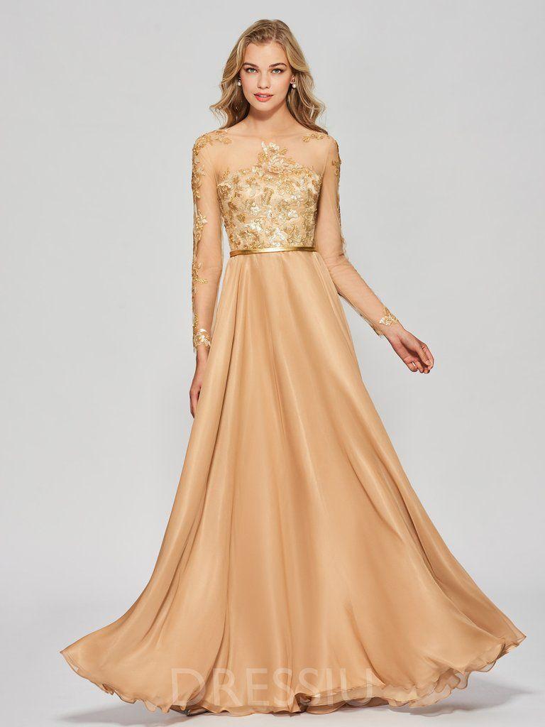 eded95b33ecd0 Floor-Length Scoop Long Sleeves A-Line Prom Dress – dressiu | Prom ...