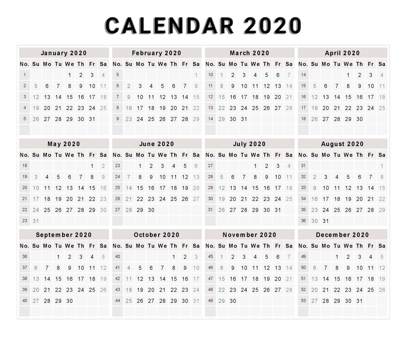 Best Of Printable Calendar 2020 Free