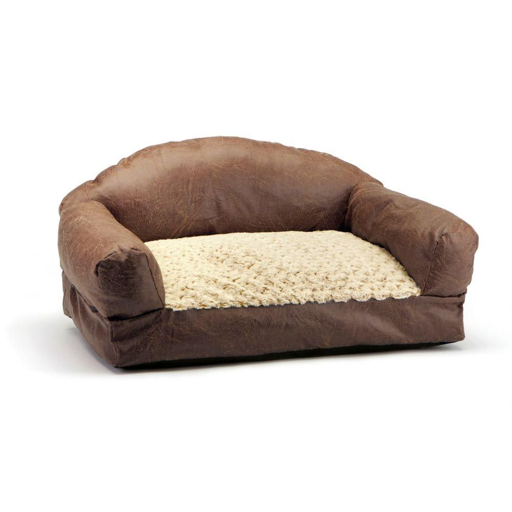Brinkmann Pet Products 29 In Brown Faux Fur And Faux Leather Sofa