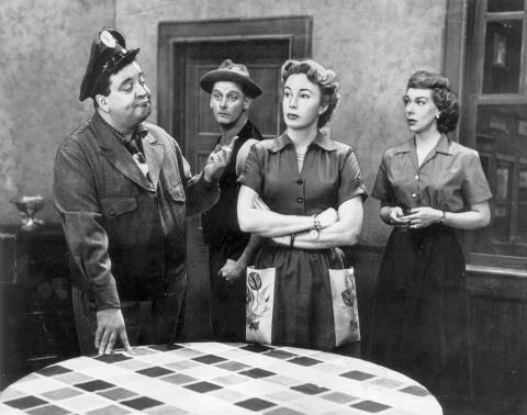 The Honeymooners. It debuted as a half-hour series on October 1, 1955. The final episode of The Honeymooners aired on September 22, 1956. (l-r) Jackie Gleason, Art Carney, Audrey Meadows, and Joyce Randolph.