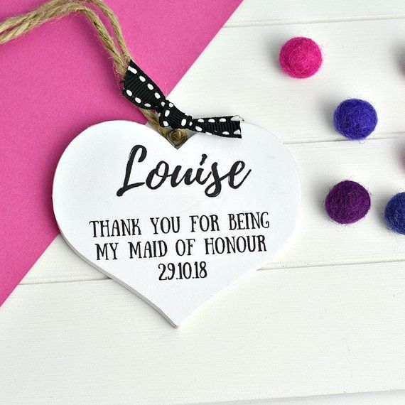 Maid Of Honour Thank You Gift Heart Plaque Personalised Gifts Wedding Party Bridesmaids