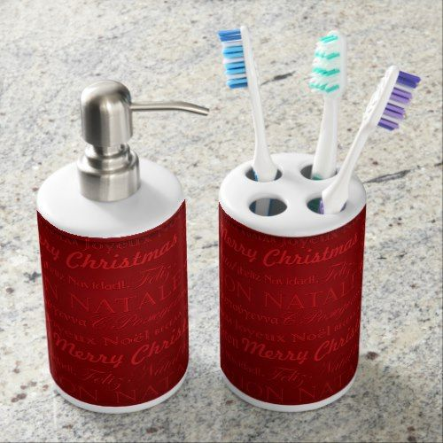 merry christmas greetings multi lang red bathroom soap dispenser and rh pinterest com Toothbrush Holder Set Bathroom Soap and Toothbrush Holders