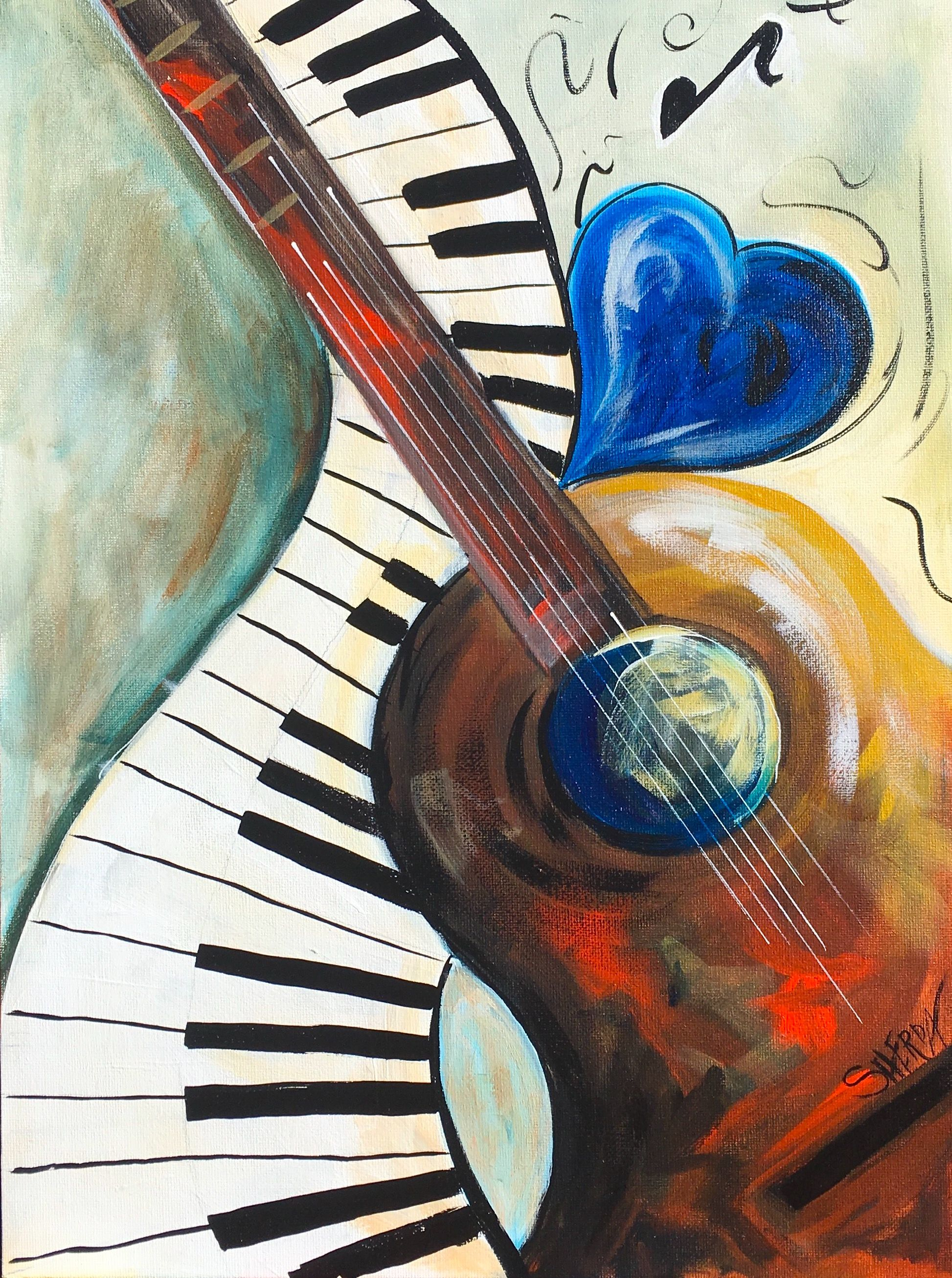 Abstract Music Acrylic Painting On Canvas With Heart Guitar And Piano For The Fully Guided Free Tutorial On Youtube By T The Art Sherpa Music Painting Painting